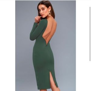 Lulus Va Va Voom Forest Green Backless Midi Dress